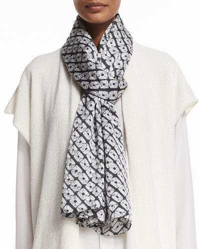 Diamond Shibori Silk Scarf, Gray