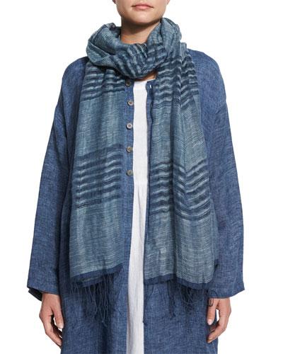 Striped Hand-Woven Linen Scarf, Indigo
