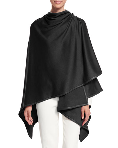 Madison Cashmere-Blend Wrap, Black