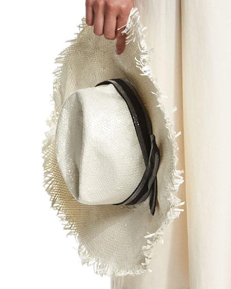 Paper Linen Floppy Hat w/Monili Band, White