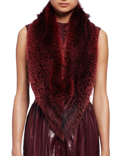 Fox Fur Stole, Burgundy