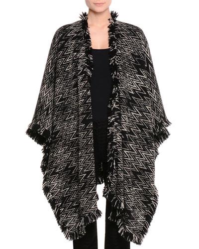 Fringed Zigzag Knit Wrap, Black/White