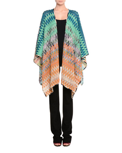 Zigzag Knit Wool-Blend Wrap, Turquoise/Gold