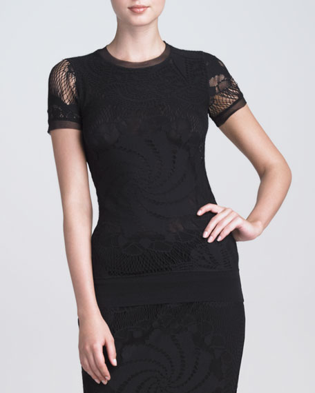 BLACK LACE SS TEE