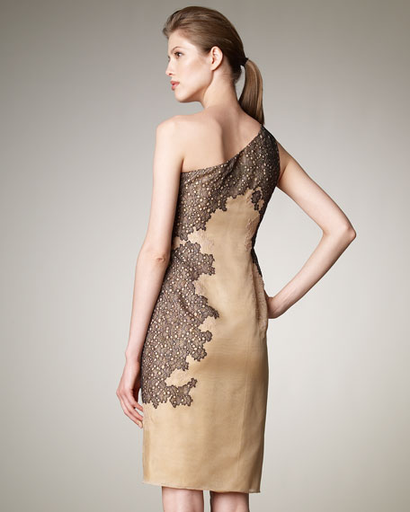 Lace-Detail One-Shoulder Dress