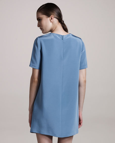 Silk Shift Dress, Teal