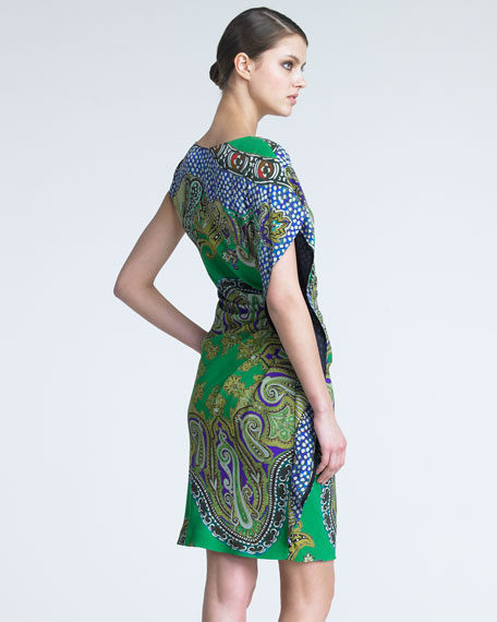Asymmetric Paisley Dress