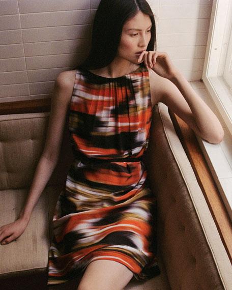 Ikat-Print Silk Dress
