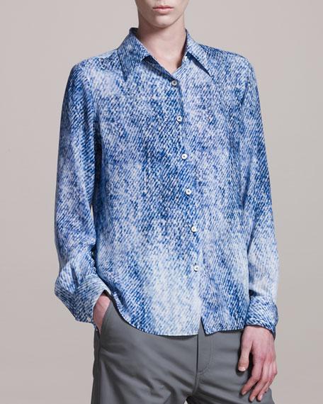 Denim-Print Crepe Shirt