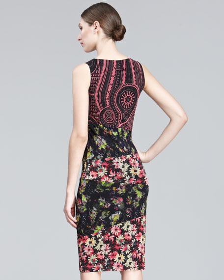 Mixed-Print Sheath Dress