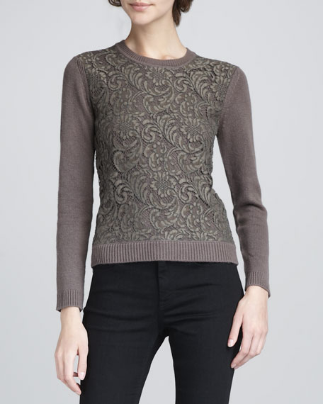 Lace-Overlay Sweater