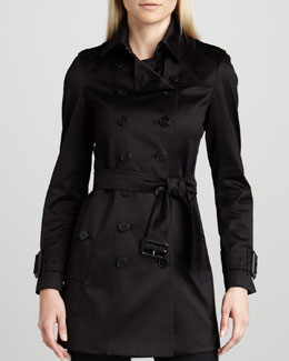 Burberry London Sateen Trenchcoat, Black