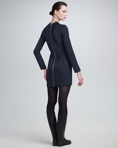 Quilted Jacquard Sheath Dress