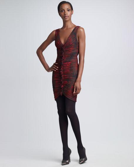 Ruched Python-Print Dress