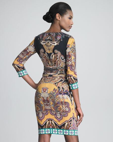 Three-Quarter-Sleeve Boat-Neck Dress