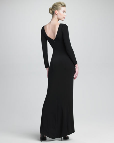 Long-Sleeve Column Gown