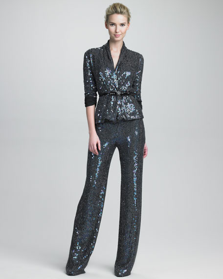 Glitter Wide-Leg Pants