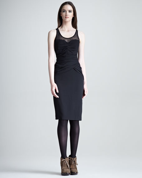 Illusion-Top Ruched Dress