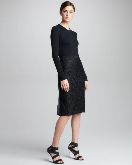Chiffon Metallic Tweed Skirt