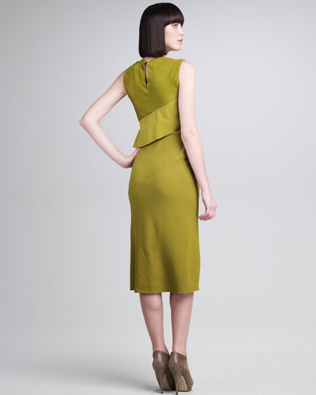 Bias-Paneled Peplum Dress