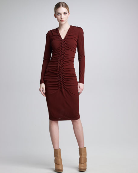 Braided-Front Long-Sleeve Dress