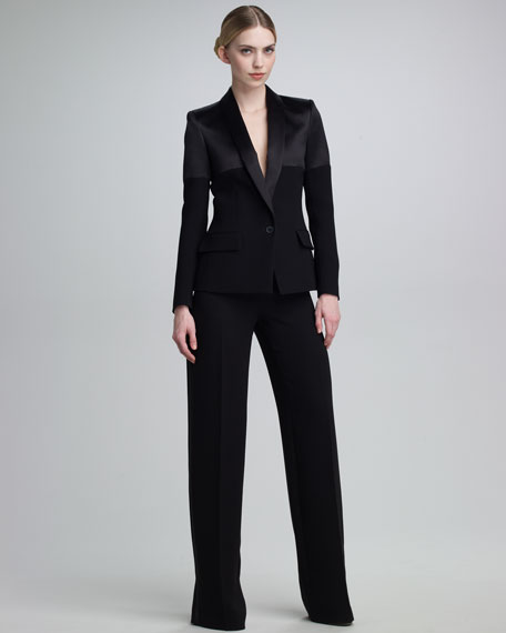 Mixed-Fabric Tuxedo Jacket