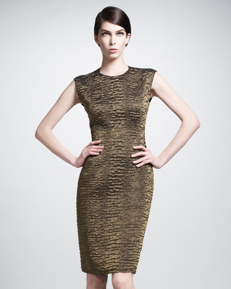 Round-Neck Brocade Dress