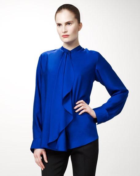 Draped-Front Silk Blouse
