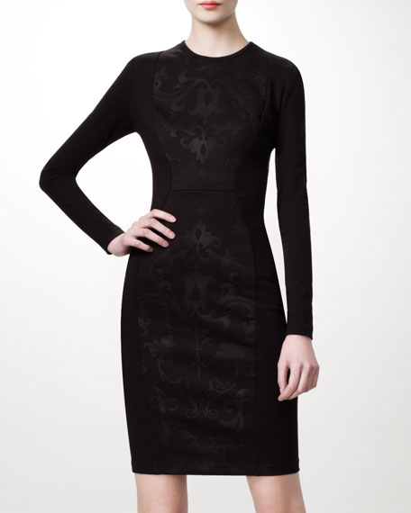 Long-Sleeve Damask Dress