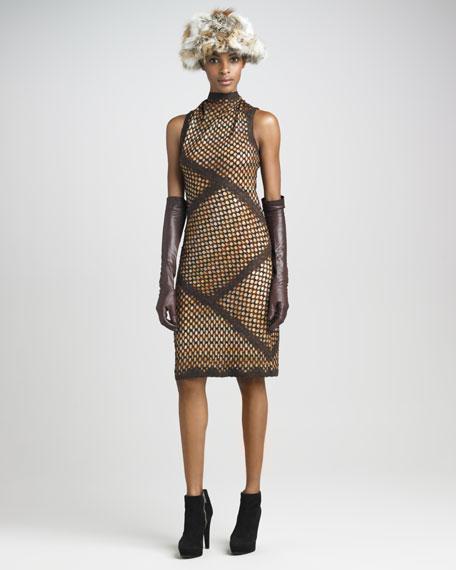 Funnel-Neck Knit Dress