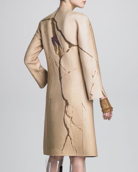 Crack-Print Cashmere Coat