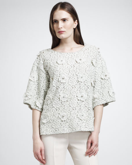 Pearl-Embroidered Floral Lace T-Shirt