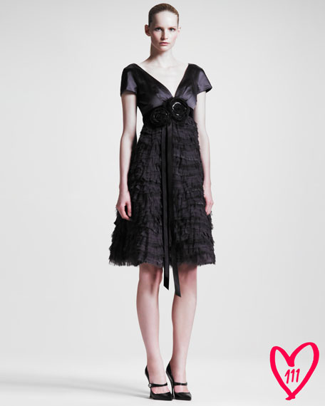 BG 111th Anniversary Ruffled Cap-Sleeve Dress