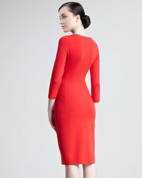 Chain-Trimmed Sheath Dress