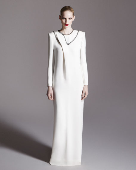Chain-Trimmed Long-Sleeve Gown