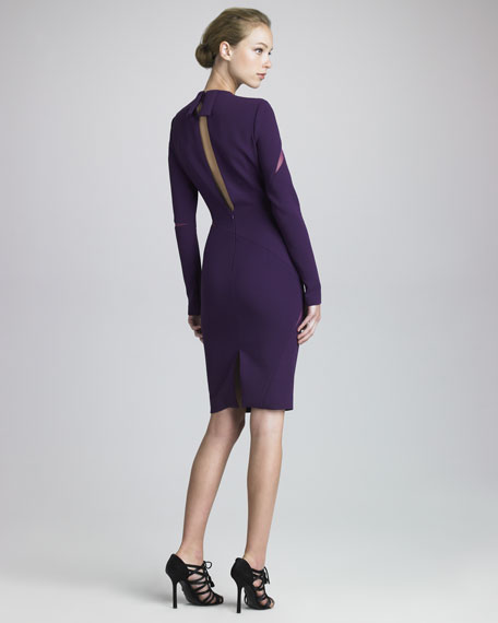 Mesh-Slash Crepe Dress, Purple