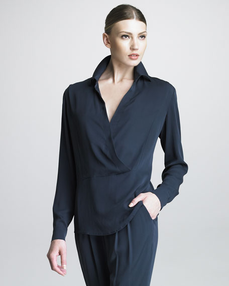 Collared Surplice Blouse