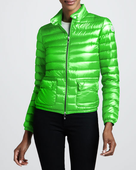 Short Lightweight Puffer Jacket, Green