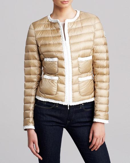 Ruffle-Trim Puffer Jacket, Ivory