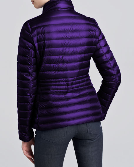 Contour-Quilted Hip-Length Puffer Jacket, Purple