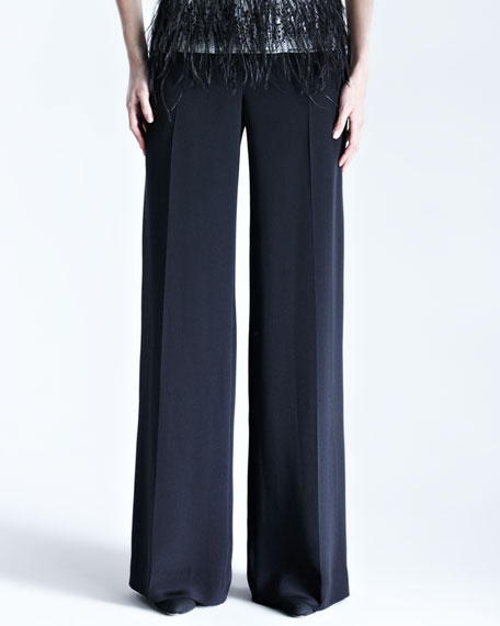 Silk Crepe Wide-Leg Trousers