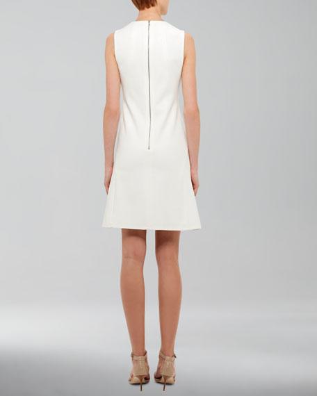 Flare-Skirt Jersey Dress, Ivory