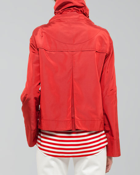 Boxy Tech-Fabric Swing Jacket