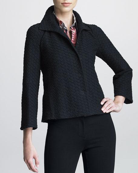 Honeycomb-Textured Swing Jacket