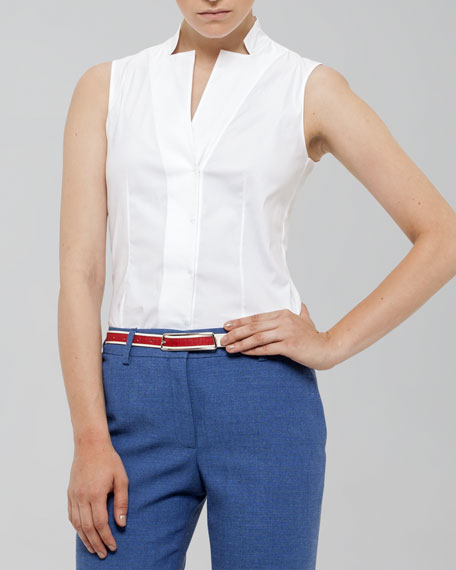 Sleeveless Notched Collar Blouse