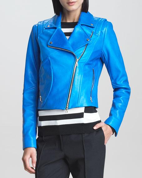 Leather Motorcycle Jacket, Blue