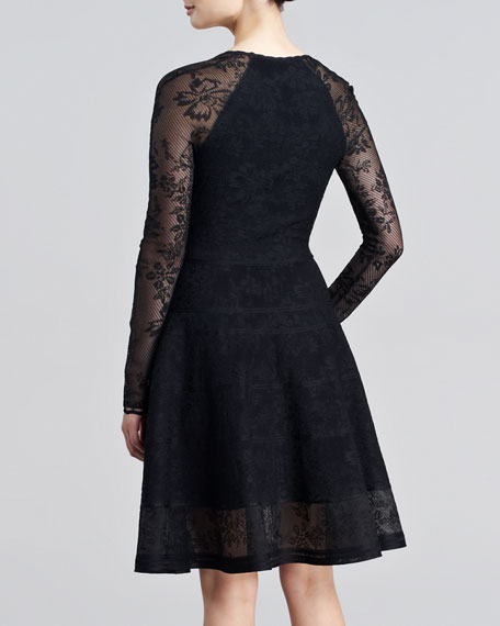 Long-Sleeve Lace-Jacquard Flounce Dress