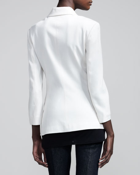 Stretch-Wool Summer Blazer, Ivory