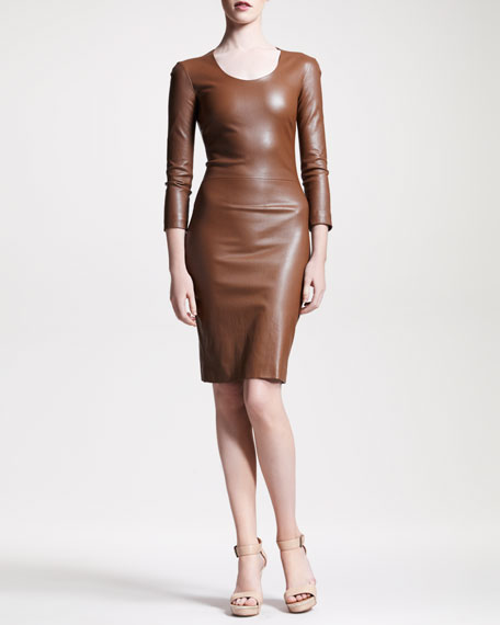 Stretch-Leather Sheath Dress