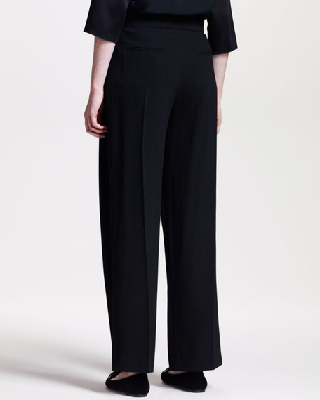 Wide-Leg Pleated-Front Pants